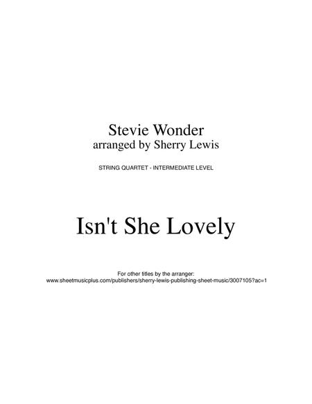 Isn't She Lovely for STRING QUARTET, String Trio, String Duo, Solo Violin, String Quartet + string bass chord chart, arranged by Sherry Lewis