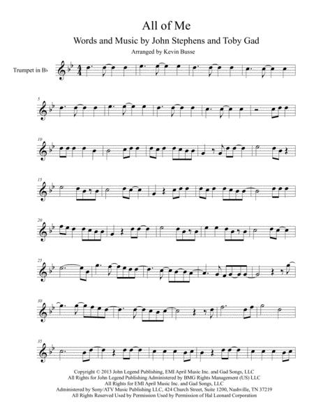 Download All Of Me - Trumpet Sheet Music By John Legend