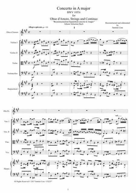 Bach - Concerto in A major BWV1055 for Oboe d'Amore, Strings and Continuo - Score and Parts