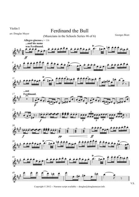 Ferdinand the Bull for String Quartet and Narrator - parts and narration