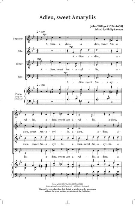 Phyllis And Amaryllis SATB Madrigal Collection