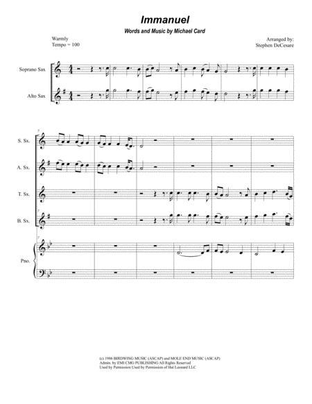 Immanuel (for Saxophone Quartet)