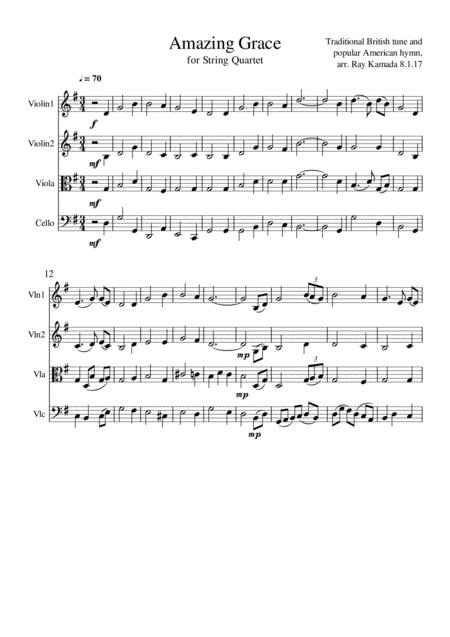 Amazing Grace - Theme and Variations, for String Quartet