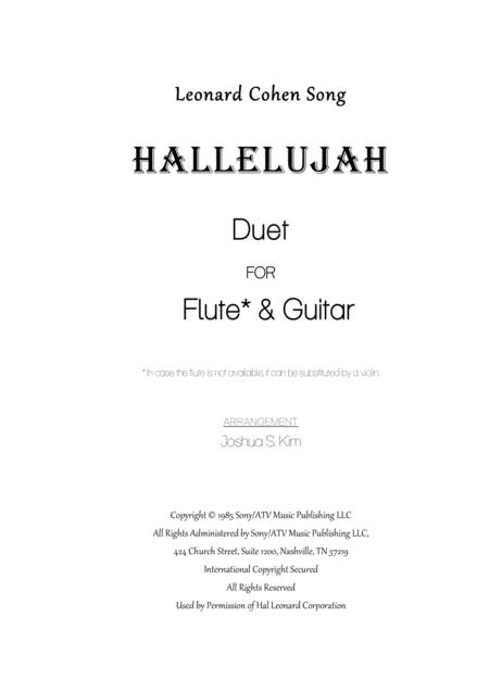 Download Hallelujah From Shrek For Flute Guitar Duet Sheet Music