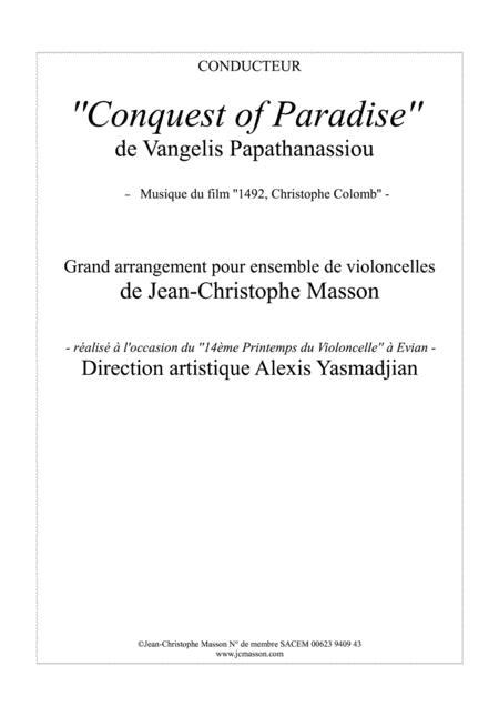 Conquest of Paradise for 4 to 8 celli --- score and parts --- JCM 2015