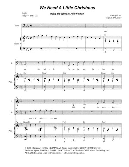 Need A Little Christmas.Download We Need A Little Christmas Duet For Tenor And Bass