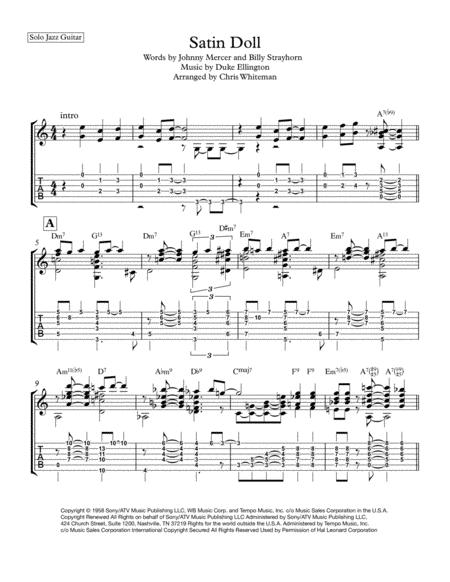 Download Satin Doll Jazz Guitar Chord Melody Sheet Music By Duke
