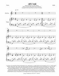 Adele: All I Ask for Alto Sax & Piano