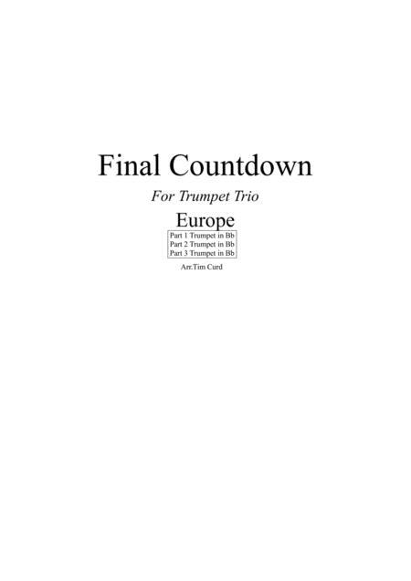 Final Countdown. For Trumpet Trio