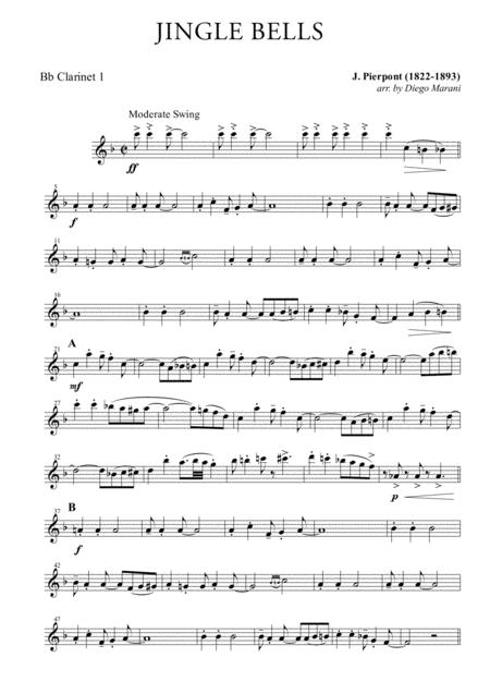Download Jingle Bells For Clarinet Quartet Sheet Music By James