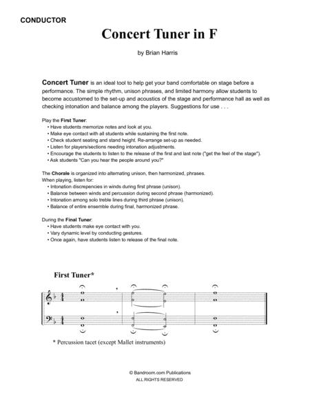 CONCERT TUNER IN F (young concert band warm up; very easy; score & parts & license)