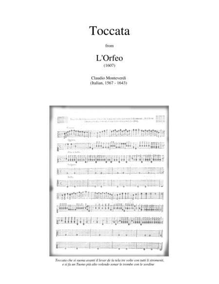 TOCCATA (fanfare) from L'ORFEO by Monteverdi - brass ensemble with opt. percussion - score, parts - medium