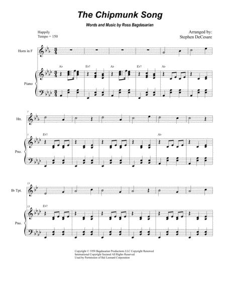 Download The Chipmunk Song (Duet For Bb-Trumpet And French