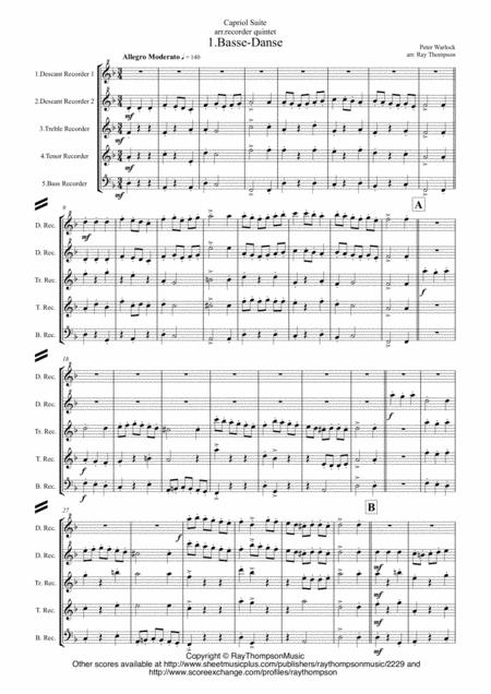 Peter Warlock: Capriol Suite - recorder quintet