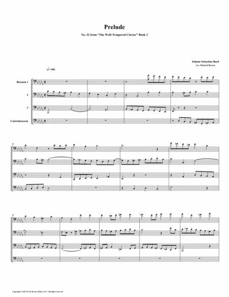 Prelude 22 from Well-Tempered Clavier, Book 2 (Bassoon Quartet)
