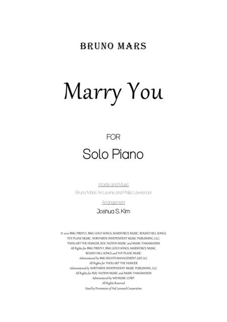 Download Marry You For Solo Piano Sheet Music By Bruno Mars Sheet