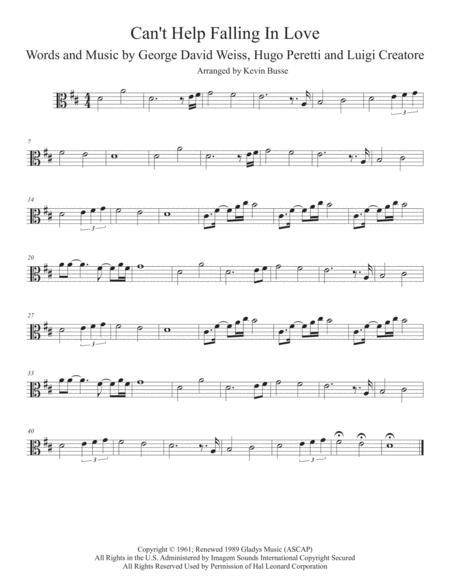 Can't Help Falling In Love (Original key) - Viola