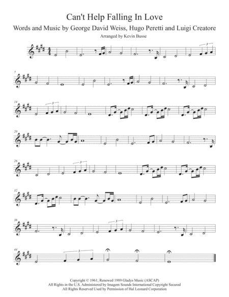 Can't Help Falling In Love (Original key) - Trumpet