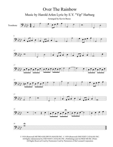 photograph regarding Free Printable Trombone Sheet Music called Down load Someplace Previously mentioned The Rainbow (Authentic Solution