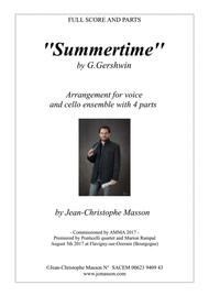 Summertime for voice and 4 celli or more --- Score and parts --- Arr. JCM 2017