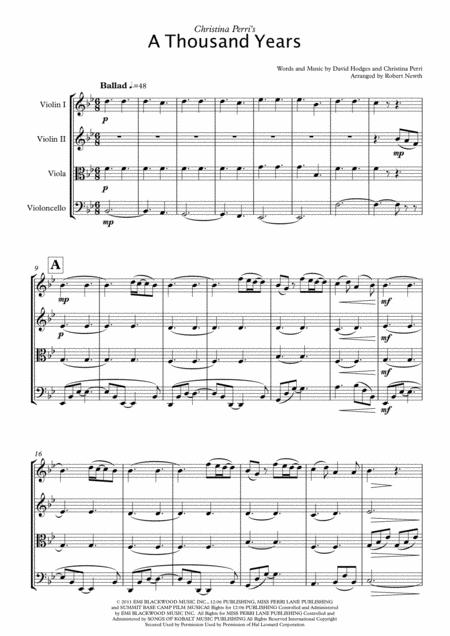 A Thousand Years (for String Quartet)
