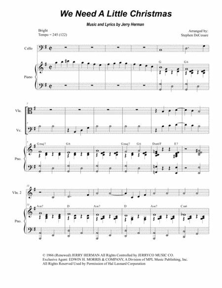 We Need A Little Christmas (for String Quartet)