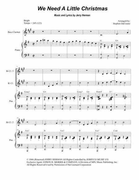 Need A Little Christmas.Download We Need A Little Christmas For Clarinet Choir