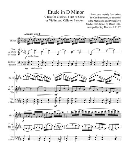 D Minor Etude for Clarinet, Flute (or Oboe or Violin), and Cello (or Bassoon)