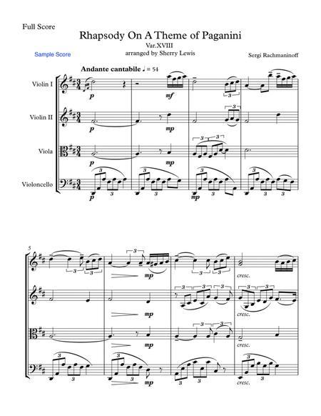 Rhapsody on a Theme by Paganini  String Quartet, String Trio, String Duo, Solo Violin, String Quartet + string bass chord chart, arranged by Sherry Lewis