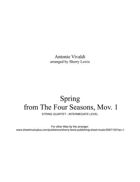 Spring from The Four Seasons for String Quartet, String Trio, String Duo, Solo Violin, arranged by Sherry Lewis