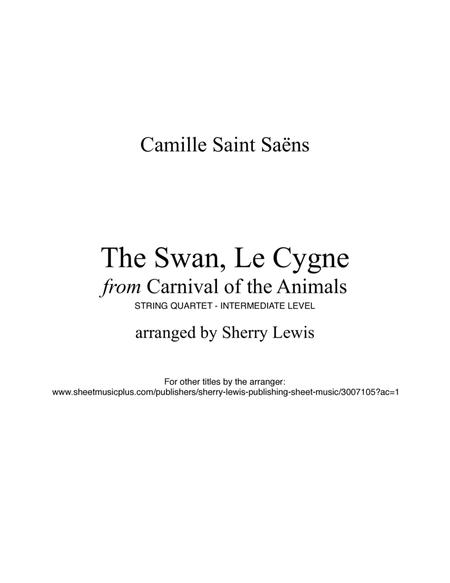 The Swan from Carnival of the Animals String Quartet, String Trio, String Duo, Solo Violin, String Quartet + string bass chord chart, arranged by Sherry Lewis