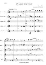 O Sacrum Convivium for clarinet quintet (4 clarinets and 1 bass or 5 clarinets)