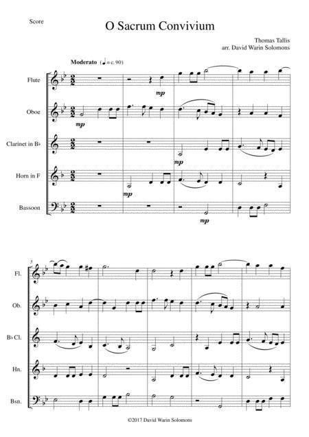 O Sacrum Convivium for wind quintet