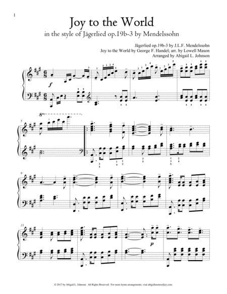 Joy to the World in the style of Mendelssohn's Jägerlied