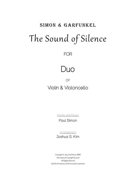 The Sound Of Silence for Duet (Easy Violin & Cello)