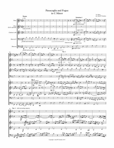Passicaglia and Fugue in C Minor BWV 582, arranged for Wind Quintet