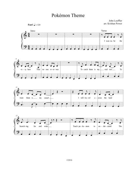 Download Pokémon Theme Song - EASY PIANO Sheet Music By Original
