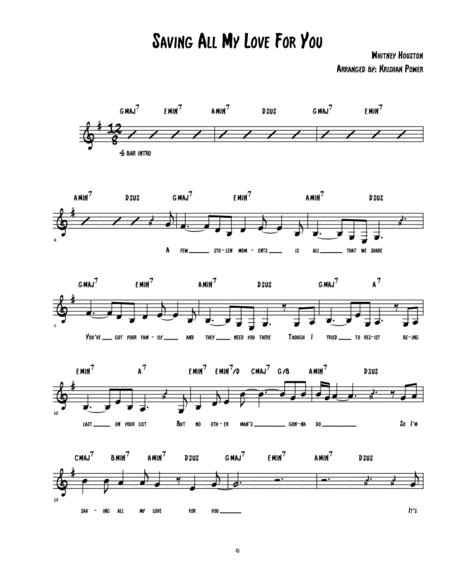 Saving All My Love For You - Whitney Houston (LEAD SHEET)