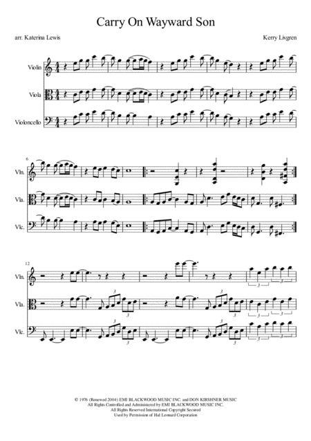 Carry On Wayward Son (Violin, Viola, Cello)