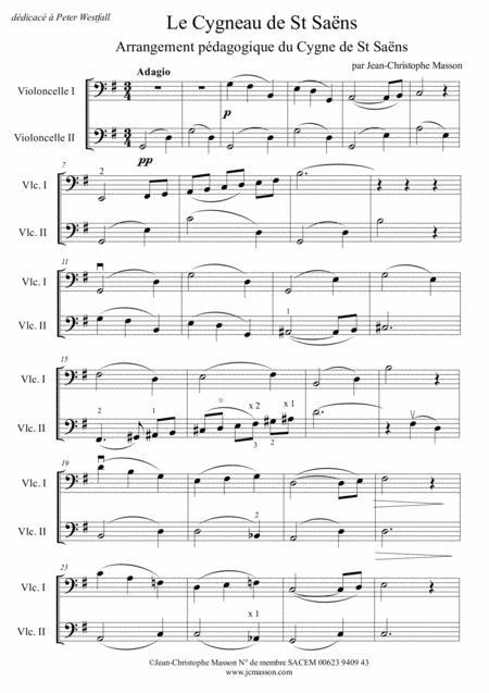 Le Cygneau de St Saëns ---  teaching arrangement of the Swan for 2 celli --- JCM 2014
