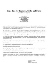 Carson Cooman: Lyric Trio for trumpet, violoncello and piano