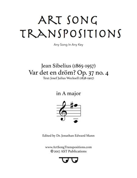 Var det en dröm? Op. 37 no. 4 (A major)