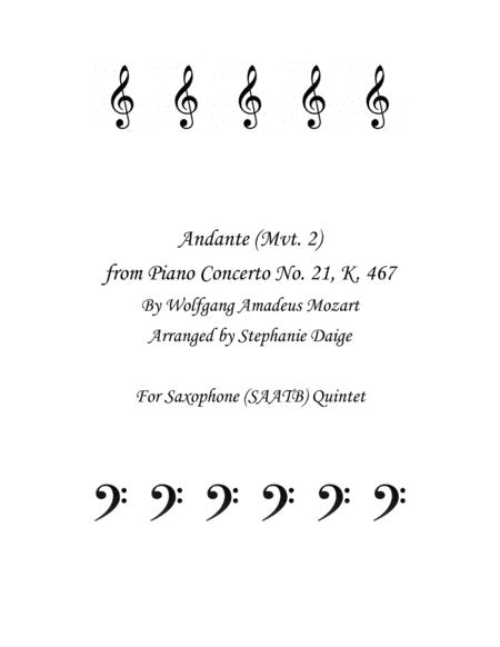 Mozart Andante from Piano Concerto No 21 for Saxophone Quintet