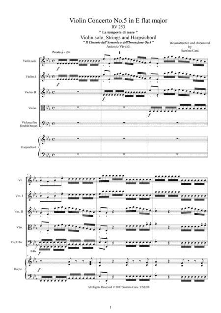 Vivaldi - Concerto No.5 in E flat - La tempesta di mare - RV 253 Op.8 for Violin, Strings and Continuo