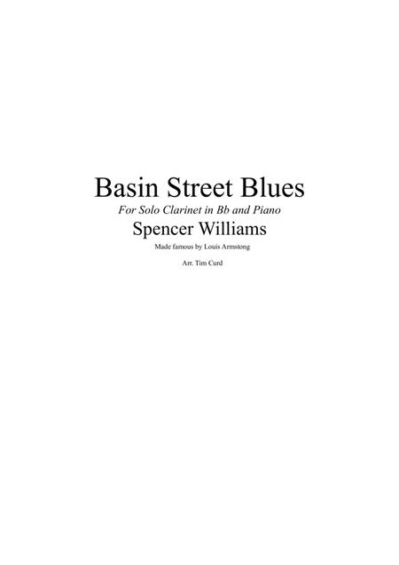 Basin Street Blues. For Solo Clarinet and Piano