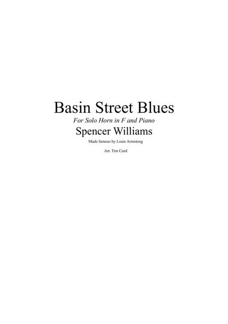 Basin Street Blues. For Solo Horn in F and Piano