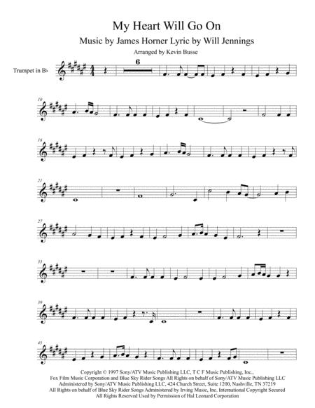 my heart will go on trumpet sheet music