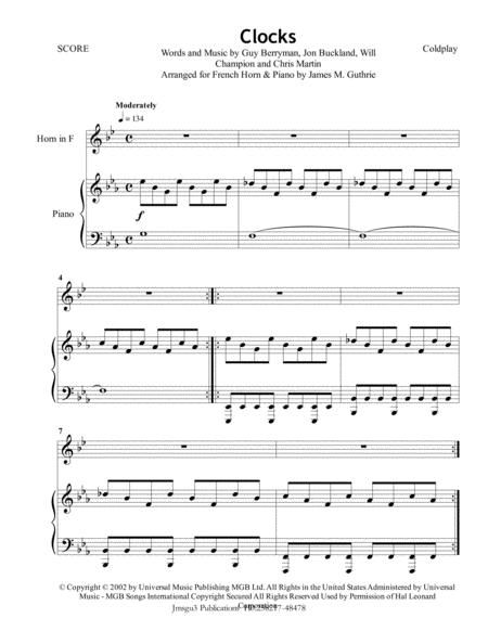 Coldplay: Clocks for French Horn & Piano