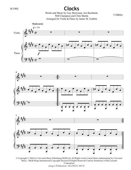 Coldplay: Clocks for Violin & Piano