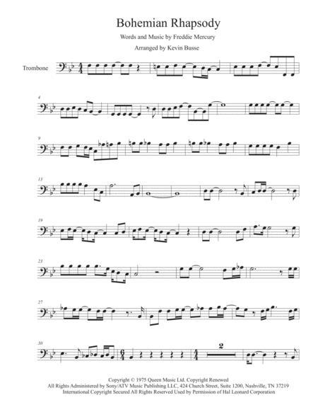 Download Bohemian Rhapsody (Original Key) - Trombone Sheet Music By ...
